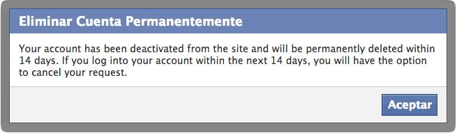 Como eliminar una cuenta de Facebook
