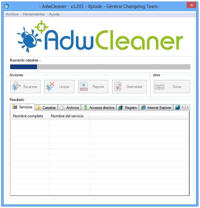 Eliminar AwesomeHP con AdwCleaner