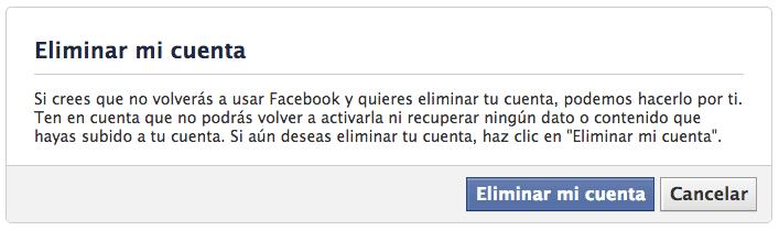 Facebook  : Eliminar mi cuenta