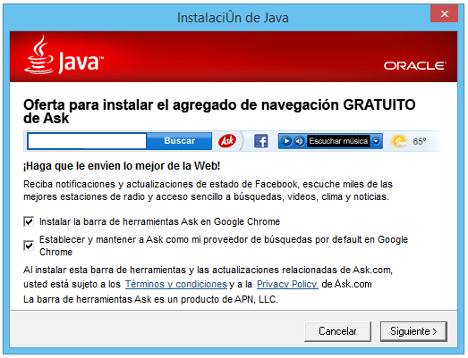 Java ask toolbar