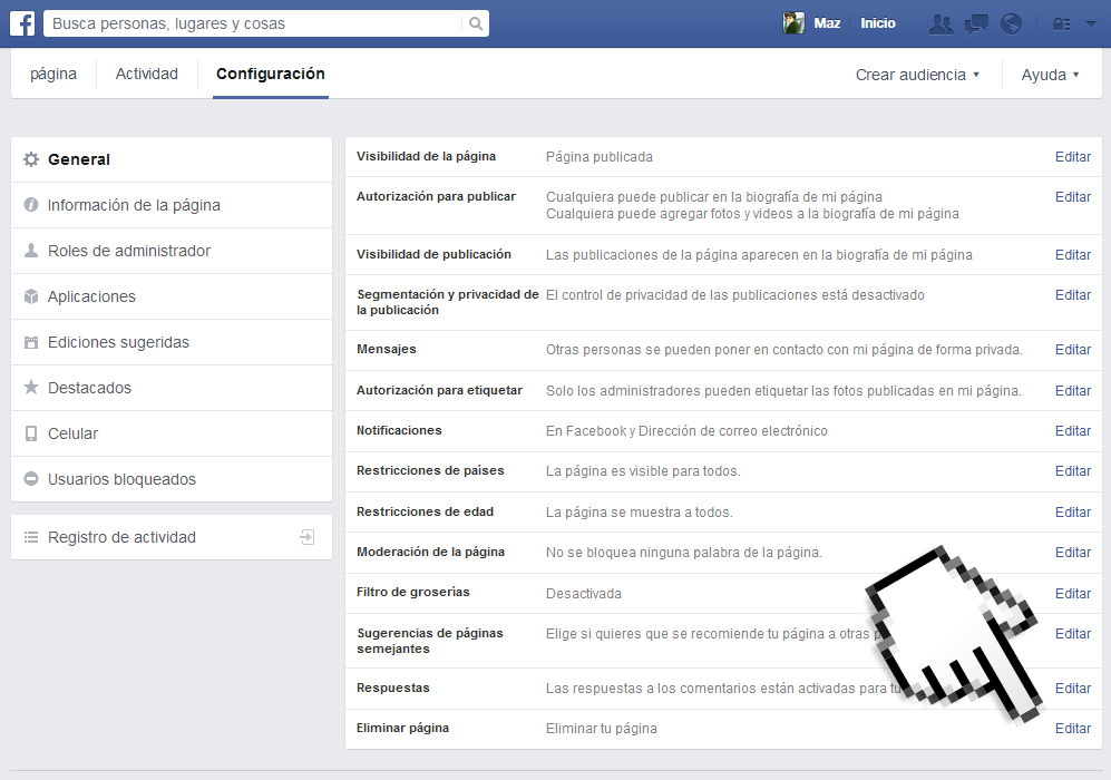 eliminar pagina facebook 2