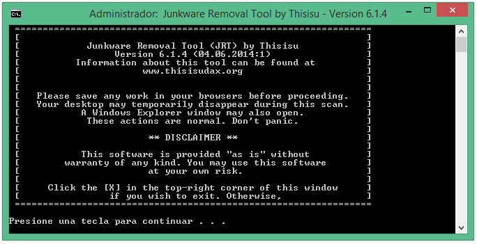 Eliminar Sweet Page con Junkware Removal Tool